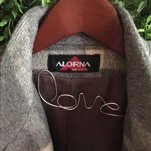 VINTAGE ALORNA oversized wool blend pea coat L/XL